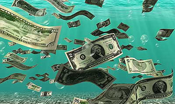 money-floating-in-water