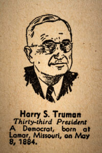 Harry S. Truman, the 33rd president of the united state of america drawing and little historical text.